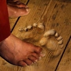 Wow ~ fascinating pics of the footprints of monks from praying in the same spot for so many years...