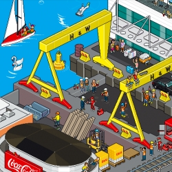 Great campaign for Coke Ireland using Eboy illustrations of Belfast, Dublin, Galway and Cork.