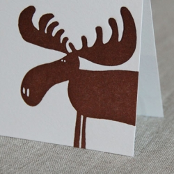 Adorable Moose Peeking card from Linda & Harriet