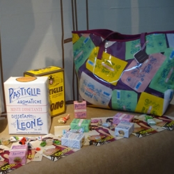 Pastiglie Leone ~ fun to see one of my favorite candies celebrated in the Fara Collection SS2010