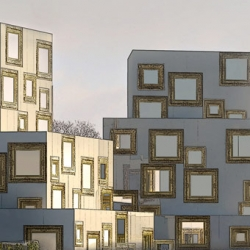 Housing project in Helsingborg by Wilhelmson Arkitekter where the windows have gilded frames