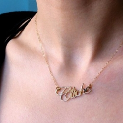 """Cliche"" - the handcut brass typographic necklace says it all so nicely... by Trashy Deluxe"