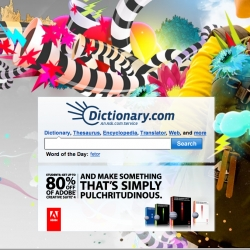 Dictionary.com has taken a turn from it's normal homepage with an interesting and unexpected new background.