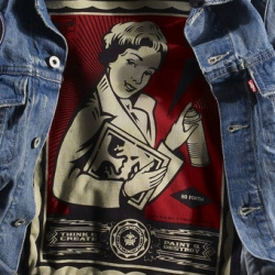 The art of Shepard Fairey has made it onto signature Levi's product as part of a collaborative project between the artist's brand Obey and Levi's.