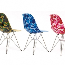 A Bathing Ape got together with Modernica to put their camouflage patterns on the iconic side chair. They come in three colorways and will release this week.