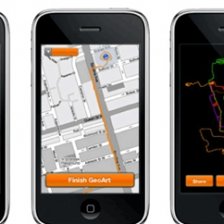 Iphone App created for MoMa that allows users to create and print art based on their geographic movements.