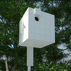 Neoshed has come out with three architecturally inspired birdhouses, this one after Richard Meier.