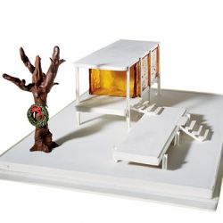 Cake Designer April Reed has made this year's hippest (and most expensive at $4,320) gingerbread house based on the mid century modern masterpiece, The Farnsworth House, by Meis van der Rohe.