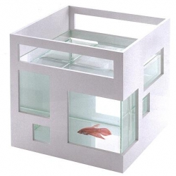 FishHotel,  glass fishbowl with ABS plastic outer shell, can be stacked to create a hotel effect. Designed by Teddy Luong.