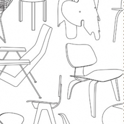 Sitting Comfortably? wallpaper by mini moderns can be enjoyed alone or colored in like an adult coloring book. With nice line art, it even includes the Eames Elephant Chair!