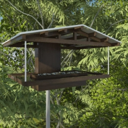 Neoshed's latest bird feeders (inspired by their prefab sheds for people) are architecturally stunning. In addition to the feeders, they have birdhouses that are beautiful too. $250 a piece.