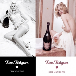To promote two different vintages for Dom Pérignon champagne, Karl Lagerfeld teamed up with Claudia Schiffer in 2007 and Eva Herzigova in 2006 for some very sexy (albeit sexist) photo campaigns.