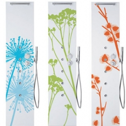 Teda of italy has a line of colorful shower columns called W.O.W. (why only white) which gives you tons of fun graphic and design options in various sizes, colors and patterns.
