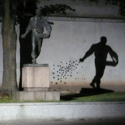 Incredible incorporation of shadows in this Lithuanian street art...