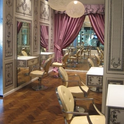 Marie Antoinette inspired hair salon complete with cupcakes? designed by Scott Weston