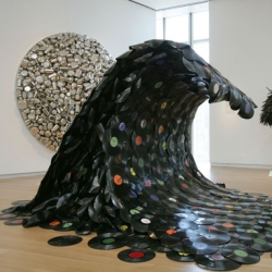 """Sound Wave"" (2007) by Jean Shin ~ awesome wave or records ~ see more of the 'Second Lives' at the Museum of Arts and Design in this NYT slideshow!"