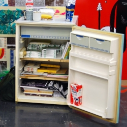 Mini Fridge as booth storage space ~ prague designblok 08: 2GD studio