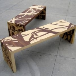 The 'Remains Benches' , designed by Elyse Marks, comes in antithetical variates. The benches feature an Avant-garde motif of animals and trees... disturbing pattern of dead, skeletal animals, hanging off of even dead-er trees…