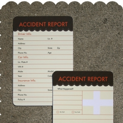 Accident Report Cards by Crowded Teeth - at least SOMETHING will be pretty about that fender bender. Cheap, too!