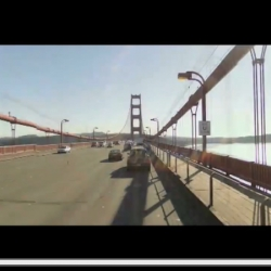 A time lapse video of stills from google street view, crossing the golden gate bridge.  Gives a fun impression of what it would be like to sit atop a street view car as it drives.