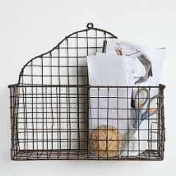 Antiqued wire basket, divided into 2 compartments with decorative backing and thick wire border. Could be a fun one for the kitchen with mail and stuff... or bromeliads?
