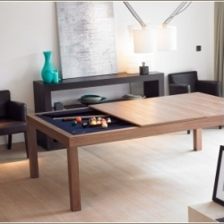Finally, someone has designed nice looking wood or metal diningroom tables that easily convert to a pool or gaming table. Fusion Tables are  available in several sizes and finishes and they are all very nicely designed!