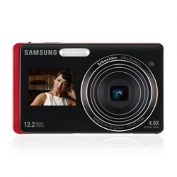 SAMSUNG DualView TL220 - Samsung's new camera has LCD on the front as well as the back.  Cool!