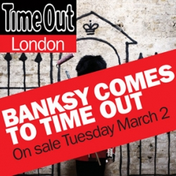 Banksy produced the new cover of Time Out London. Not only the mag will come with a large size poster of his art, but also an interview.