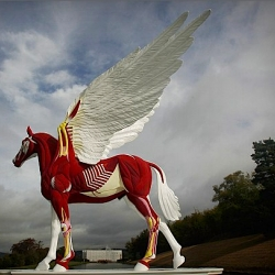 Damien Hirst unveils his new sculpture 'Legend' at Chatsworth House.