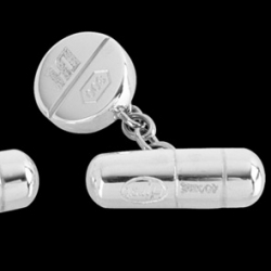 Damien Hirst's latest offering are these sterling silver pill cuff links, inspired by his iconic Pharmacy artworks.
