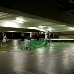 Park, Set and Match by Jorge Mañes. -- I love this type of mischief, taking over the parking lot in the name of tennis