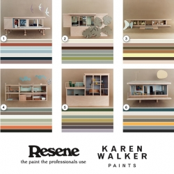To promote their latest collection of Karen Walker colored house paints for Resene, Gidon Bing built mini mid century architectural models and Katie Lockhart styled them. Great way to show the color collections.