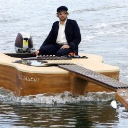 Love musician, Josh Pyke's giant guitar boat!