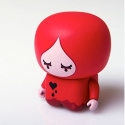 "Full Bleed ~ ""she'll go to the edge for you"" ~ designer inside joke + adorably cute perfect desktop sidekick... ""Full Bleed is a collaboration between Veer and UNKL, the originator of UniPo vinyl toys. She's a Veer Exclusive."""