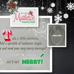 Sephora's Mistletoe Makeover ~ upload your face, get dolled up, and pass it on to a friend in a singing, dancing, greeting! It's actually nicer than i expected...