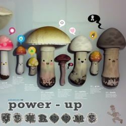 Jonathan Ball's Power Up Mushrooms poster is adorable!