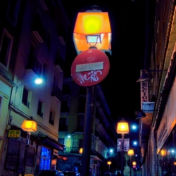 Spanish designers Luzinterruptus have completed a guerrilla lighting installation in a Madrid street. Lamp Shades!!!
