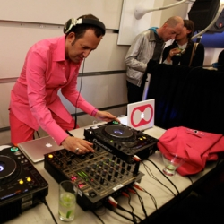 DJ Kreemy aka Karim Rashid spun at his own Artemide party in soho last night ~ check out hiw pink outfit ~ the grassy window ~ super tight I <3 LED bartender tees and more...
