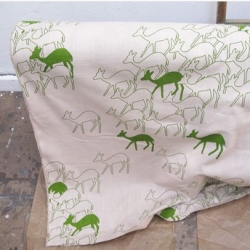 Skinnylaminx's fabrics are so fun! Love Duikers in green ~ adorable deer screenprinted on cotton ~ out of cape town