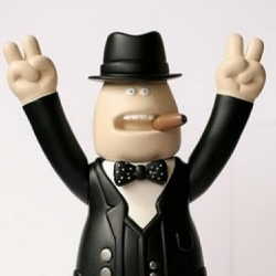 One of a kind Winston Churchill figure created from James Jarvis's 'Lars' figure.
