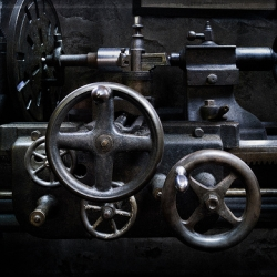 Harold Ross took beautiful, long-exposure-and-LED-flashlight pictures of working, pulley-driven machinery at the Hagley Museum in Delaware.