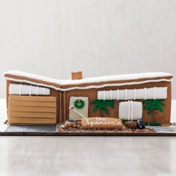 Finally someone has come out with a modern mid -century Gingerbread House. 100% edible and available with personalization.  I hope they make more..
