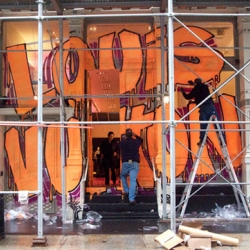 The Louis Vuitton Soho flagship store gets the Stephen Sprouse make-over. Here a first look at the exterior.