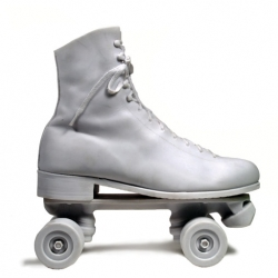 "The latest in Harry Allen's Reality series is the cast resin white rollerskate to be used as a book end or doorstop. The ""Roller stop"" is also available in green. $105.00USD"