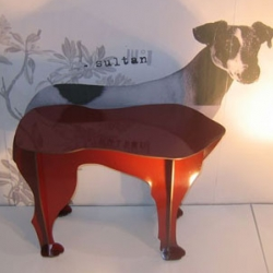 Yet another cool piece of animal shaped furniture. This one is the Sultan Dog Stool from Ibride. Available in red or black.