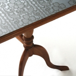 Etched steel surfaces on furniture by Momantai Design.