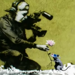 While at Sundance hitRECord remixed two of Banksy's Park City pieces together into a little animation where the rat meets the cameraman. ♥
