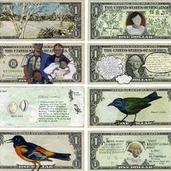Artist Hanna von Goeler has taken dollar bills and by painting upon them has created a whole new currency. See the series here as well as the 11 for sale at HANG gallery.