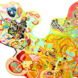 Wonderful works of art by Yusuke Gunji. Done with pen, markers, stickers and scraps!