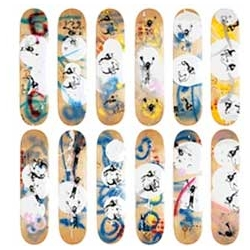 Mekanism Skateboards got together with American painter Thaddeus Strode on overall 40 individually numbered and painted skatedecks. Super nice and available now for purchase!